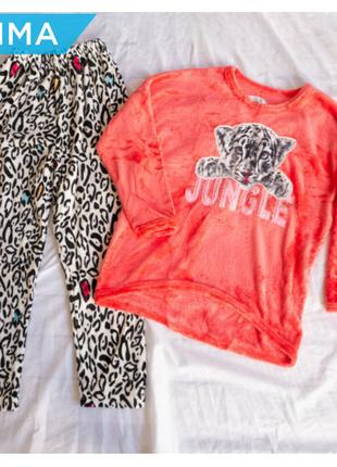 Женская теплая пижама зима велсофт микрофибра фланель плюш софт