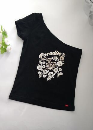 Стильная футболка на одно плечо esprit 100% хлопок