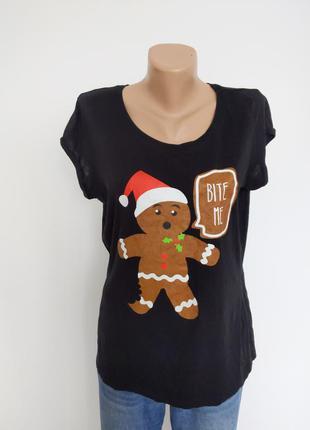 🔥🔥🔥 футболка с новогодним рождественским принтом черная  женск...