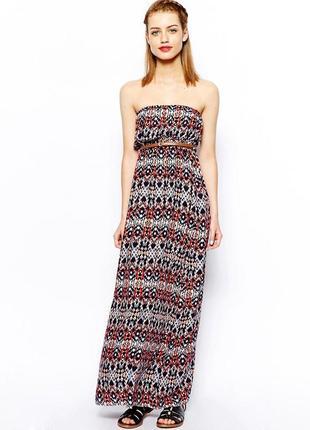 Длинное платье бандо с разноцветным принтом asos new look пляж...