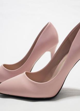 Женские туфли-лодочки в пудровом цвете на каблуке 10,5 см. Размер
