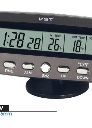 Часы автомобильные VST 7045 V термометр вольтметр VST-7045V