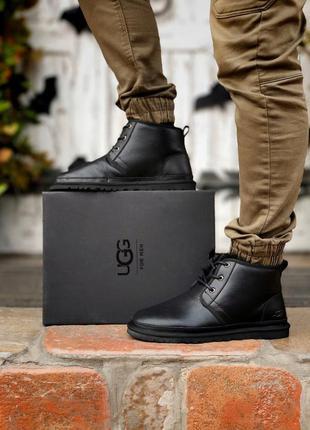 Ugg neumel black мужские кожаные зимние угги/ сапоги/ ботинки ...
