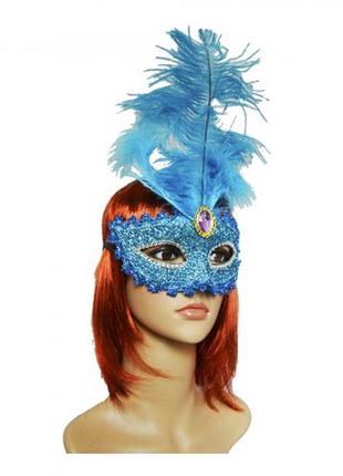Карнавальная венецианская маска с длинным пером