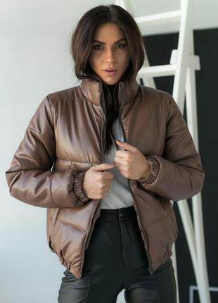 Стильная куртка из эко кожи осень/зима