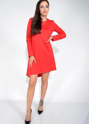 Платье красное асимметрия с длинным рукавом