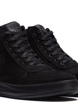 Мужские зимние кожаные ботинки timberland black