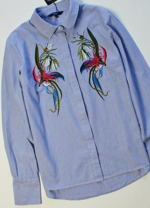Стильная рубашка с цветочным узором вышивка next хлопок с длин...