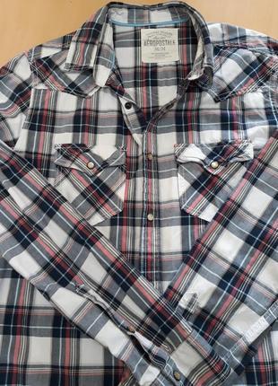 Стильная мужская рубашка в клетку, aeropostale
