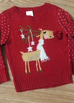 Детский новогодний свитер на 2 года