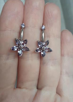 Серебряные серьги  в виде цветов с фиолетовым камнем