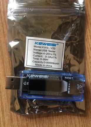 USB тестер Keweisi KWS-20 (вольтаж,амперы,емкость,время)