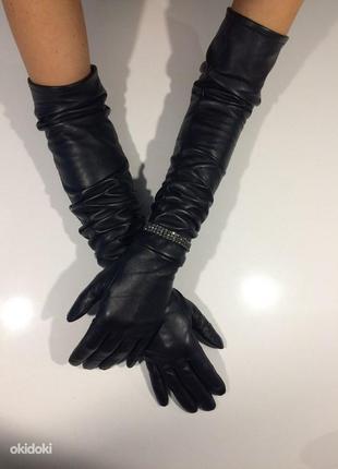 Изысканная красота длинные кожаные перчатки