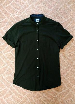 Мужская рубашка приталенная хаки без воротника zara