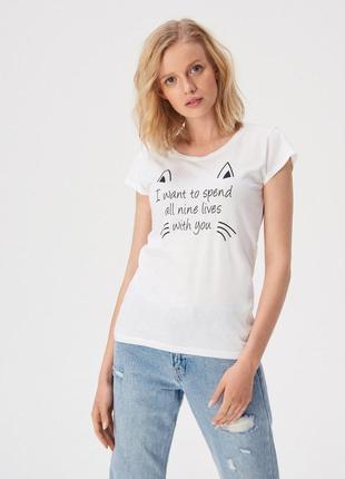 Новая белая футболка sinsay кот кошка принт 9 жизней xs s m l xl
