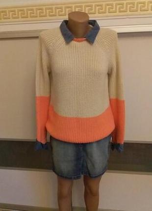 Вязаный свитер крупной вязки м/l