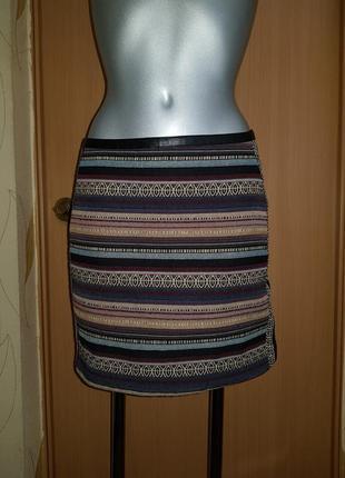 Короткая юбка мини гобелен из плотной ткани