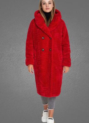 Пальто шуба с капюшоном длинная из искусственного меха красная