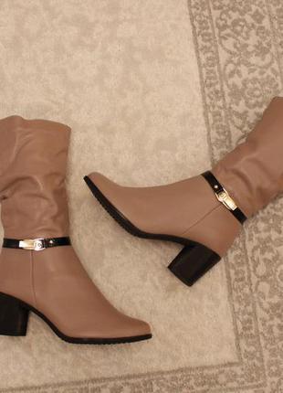 Зимние кожаные сапоги, сапожки, полусапожки 39 размера