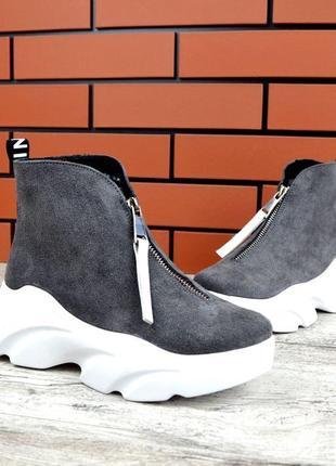 Натуральная замша осенние замшевые ботинки на массивной подошв...