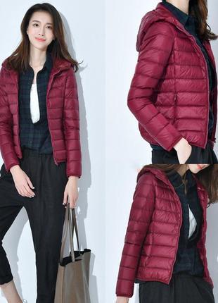 Ультратонкий компактный пуховик куртка в мешочке с капюшоном