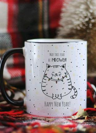 Чашка с новым годом котик