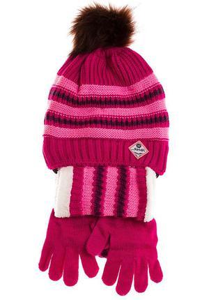 Комплект( шапка, перчатки, шарф)