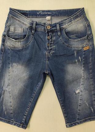 Gang стрейчевые джинсовые шорты с потертостями