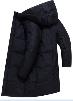 Натуральный мужской пуховик пальто на белом утином пуху до - 30*С