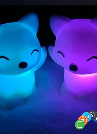 Детский ночник-лисёнок, светящаяся игрушка лиса, 7 семь цветов