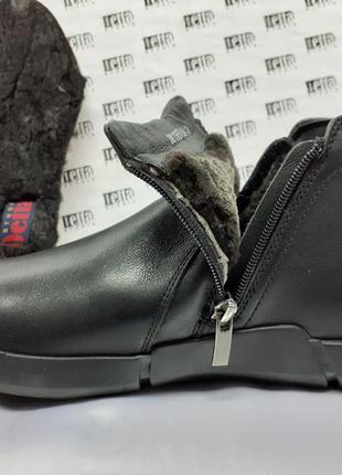 Скидка!комфортные кожаные ботинки на молнии на цигейке detta 4...