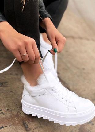 Женские зимние ботинки, женские зимние кроссовки, белые