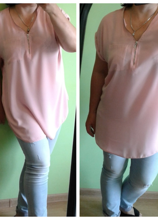 Блуза туника нежно розового цвета 16,18 размер