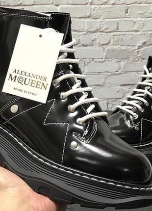 Alexander mcqueen black winter boots, зимние женские ботинки м...