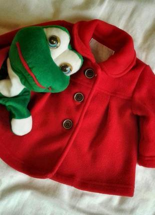 Демисезонное флисовое пальто красное tu