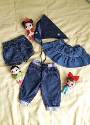 Джинсовые шорты штаны комбинезон юбка косынка
