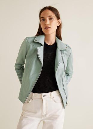 Кожаная мятная куртка mango, размер m