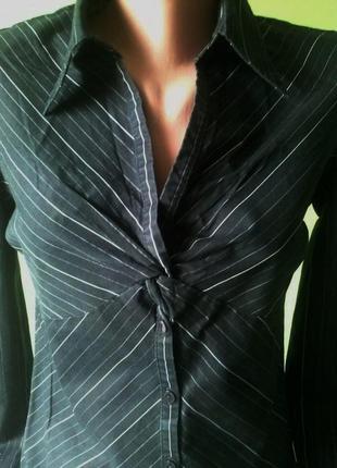 Рубашка сорочка блуза черная в белую полоску