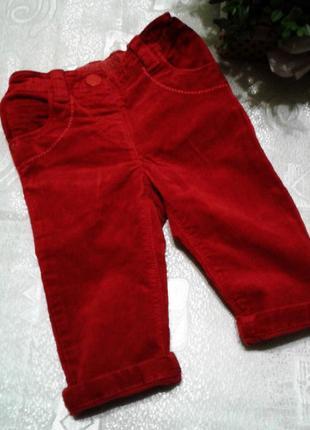 Красные вильветовые штаны для модницы 6-9 мес.