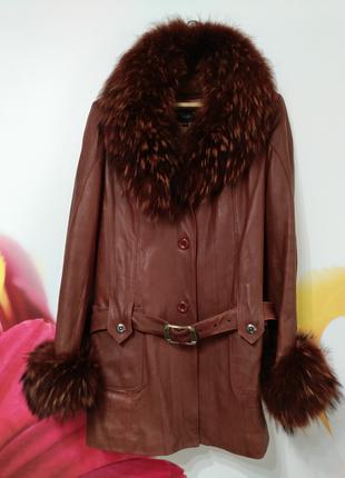 Куртка женская кожаная с натуральным мехом (демисезон), р.48
