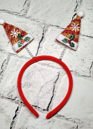 Обруч карнавальный, ободок на новый год, Шапка Санты