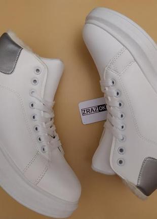 Высокие белые ботинки в стиле alexander mcqueen,белые зимние к...
