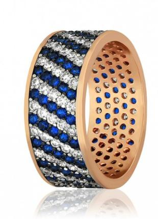 Серебряное кольцо в позолоте 585пробы, серебро, сапфир,925
