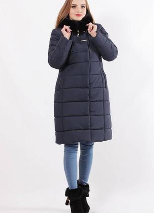 Зимняя женская куртка с капюшоном .куртка зимняя с опушкой синяя