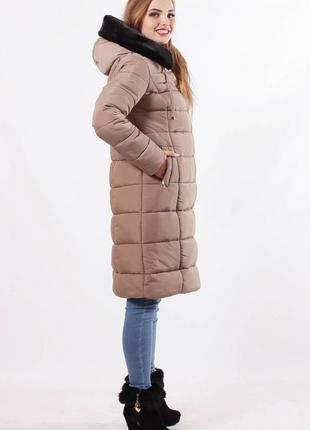 Зимняя женская куртка с капюшоном .куртка зимняя с опушкой кор...