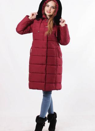 Зимняя женская куртка с капюшоном .куртка зимняя с опушкой бор...