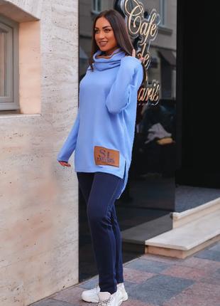 Утепленный женский костюм из вязки-травки с блеском и трехнитки