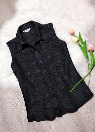 Лёгкая блуза блузка жатка рубашка безрукавка женская черная