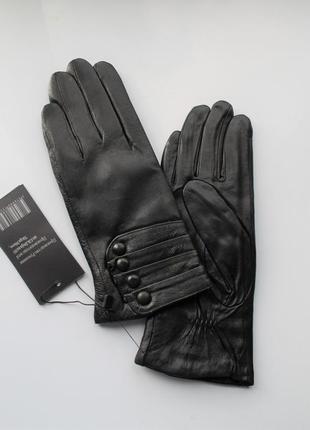 Женские кожаные перчатки подкладка махра black