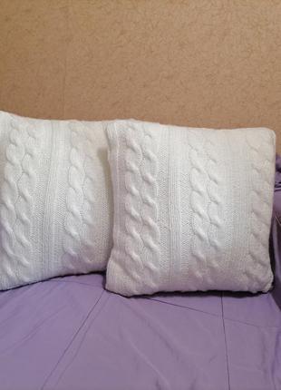 Вязанная подушка, интерьерная подушка